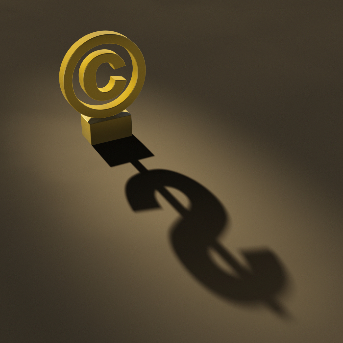 Copyright symbol with money sign in shadow