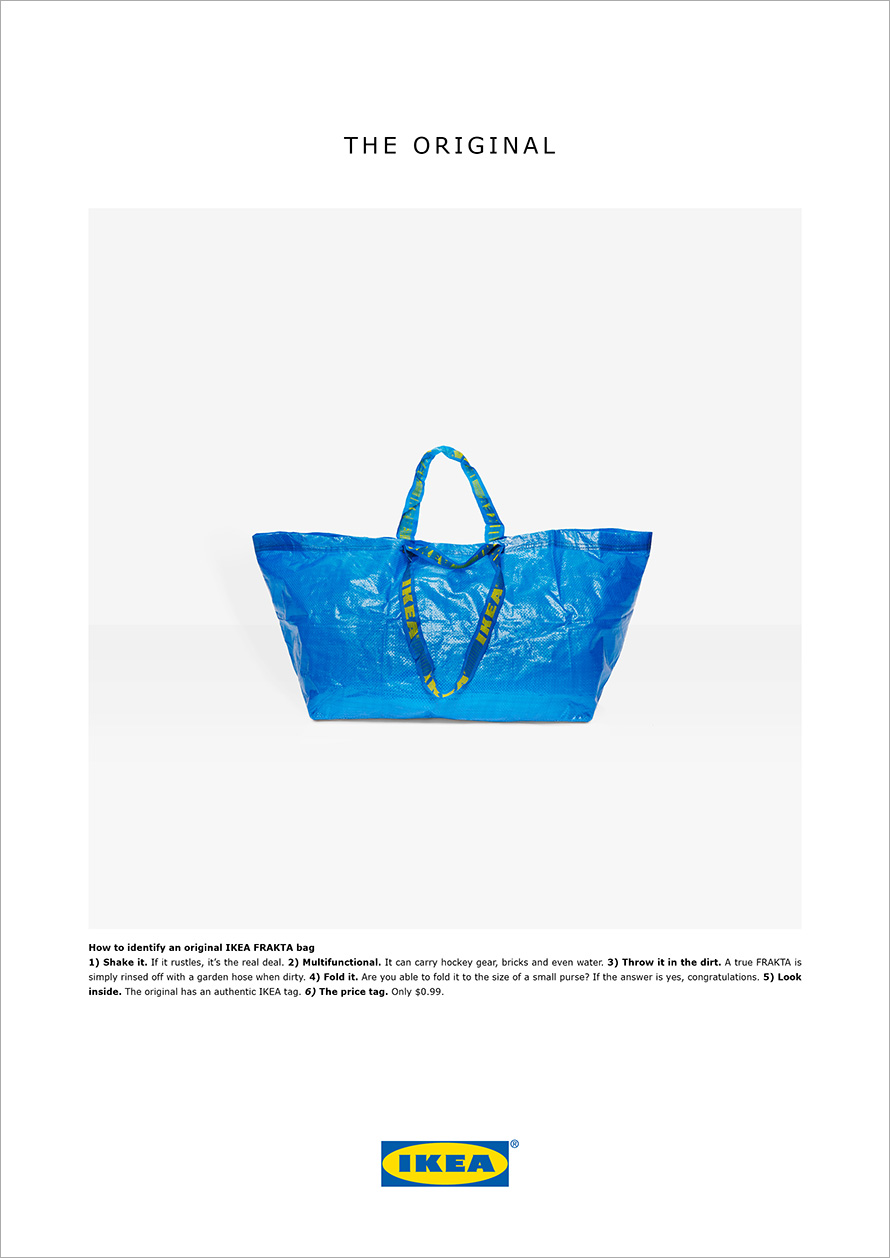 Ikea advertisement featuring its signature blue shopping bag