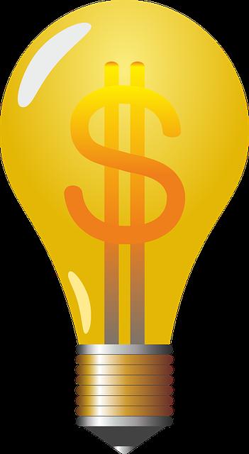 lightbulb formed with money symbol