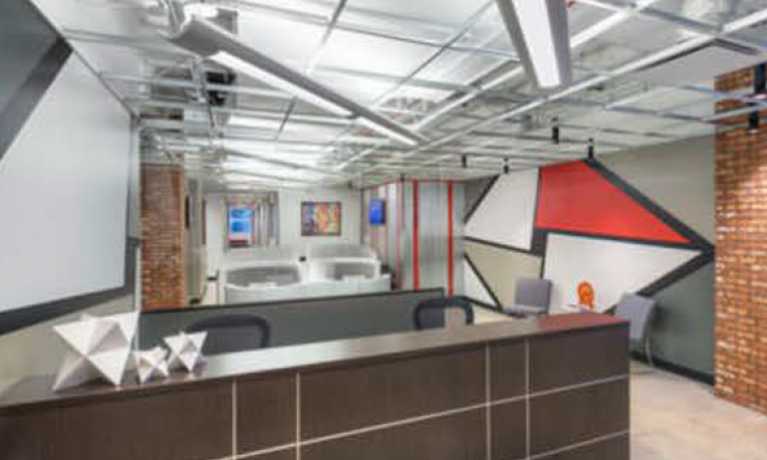 Interior of Chicago's new Merchandise Mart office hub.