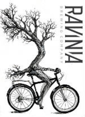 Ravinia Brewing Company logo with a tree riding a bicycle