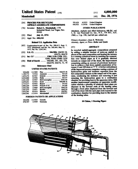 First page of Patent #4,000,000: a process for recycling asphalt-aggregate compositions