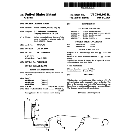 First page of Patent #7,000,000: polysaccharide fibers