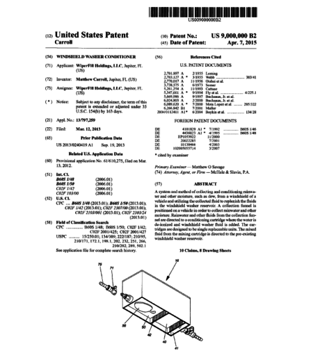 First page of Patent #9,000,000: windshield washer conditioner
