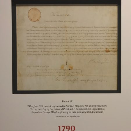 The first US patent signed by George Washington in 1790