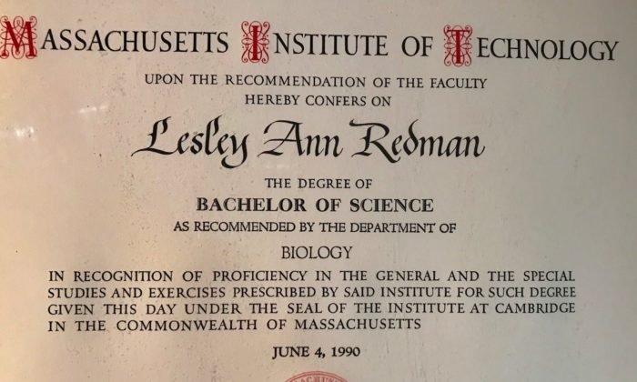 MIT Diploma for Lesley Wallerstein (nee Redman) receiving a Bachelor of Science in Biology