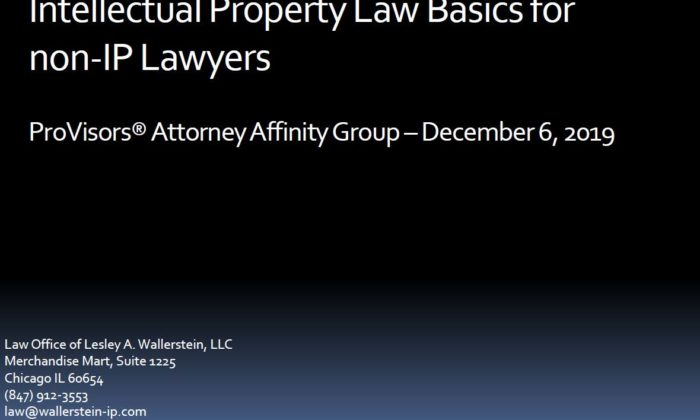 Intellectual Property Law powerpoint by Lesley Wallerstein